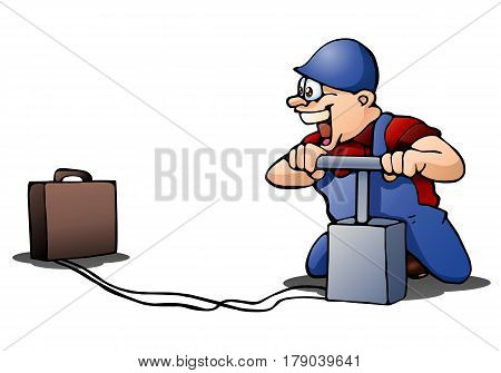 illustration of a worker ready to blow up suitcase on isolated white background