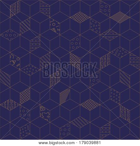 Memphis seamless pattern 80s-90s-vector illustration. Geometric seamless pattern of cubes with different geometrical patterns. Blue with gold ornament of cubes.