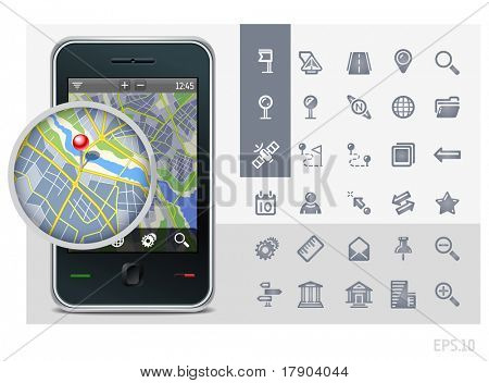 gps phone interface icons set and map with pin
