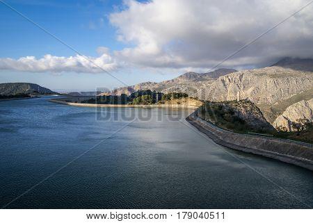 Landscape with a big lake, Garganta del Chorro, Andalusia,  Spain