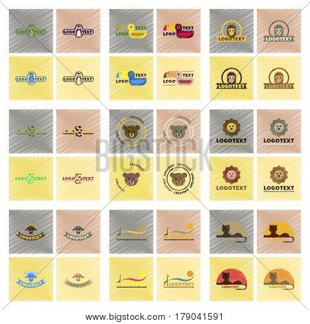 assembly flat shading style icons of logo bear lion giraffe penguin snake monkey bird bull