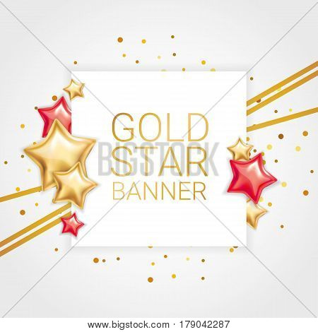 Gold red star background, banners. Golden banner. Gold banner with text. Super Sale, awards, web, card, vip exclusive certificate, gift luxury, voucher. Store shopping sale win. Rock star invitation