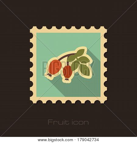 Rosehip branch with red berries flat stamp. Berry fruit vector illustration eps 10