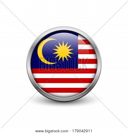 Flag of Malaysia button with metal frame and shadow