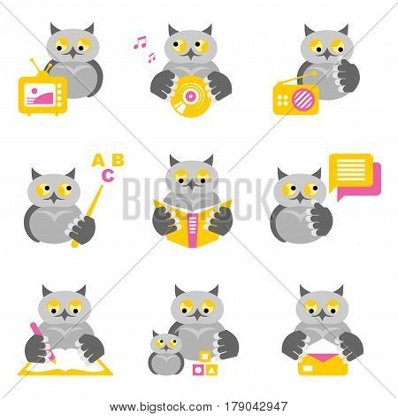 Set of colored icons - owls on the theme of education and science on a white background.
