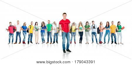 Large group of teenage students isolated on white background. Many different people standing together. School, education, college, university concept.