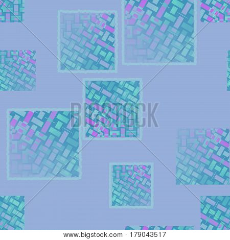 Abstract geometric seamless background. Irregular squares pattern with rectangle elements in violet, magenta, purple and turquoise green shades diagonally on lilac.