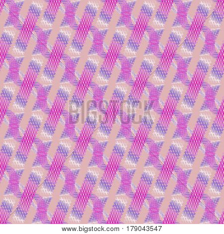 Abstract geometric seamless modern background, dimensional waffle-weave pattern. Regular stripes and wavy lines diagonally in violet, purple and white on pink.