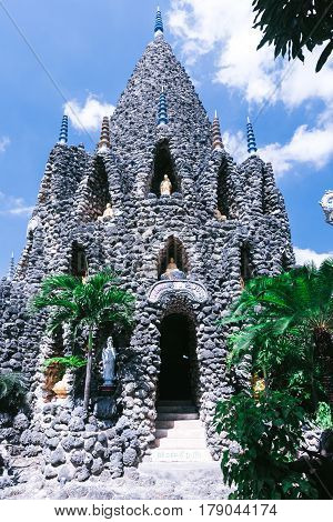 Coral tower in pagoda Chua Oc. Bao Tich tower was built by corals and shells in Cam Ranh City