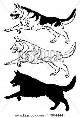 The running cheerful dog a male of breed a German shepherd. Set, manual contour line, the black-and-white drawing and a black silhouette on a white. Vector illustration. Symbol 2018 chinese new year.