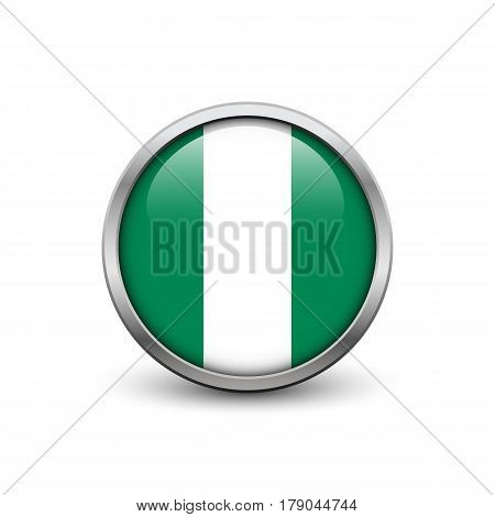Flag of Nigeria button with metal frame and shadow
