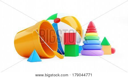 Toys cube beach ball pyramid on a white background 3D illustration