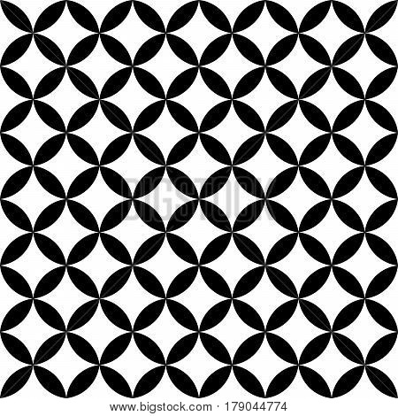 Black and white overlapping circles. Abstract retro design seamless pattern. Simple vector geometrical background.