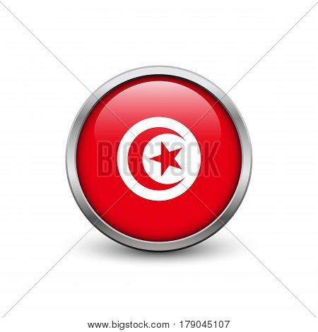 Flag of Tunisia button with metal frame and shadow