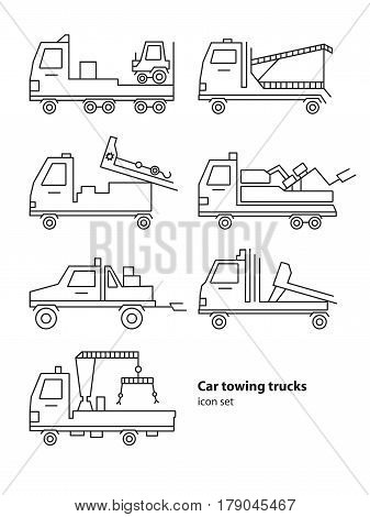 Car towing truck roadside assistance, Vector lineart illustration for icon, logo. Evacuators car set.