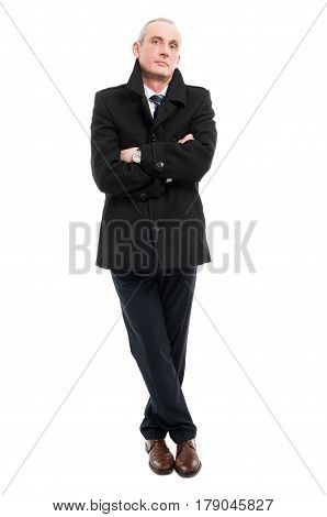 Full Body Of Elegant Man Posing With Arms Crossed