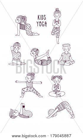 Kids yoga set, Children perform exercises, asanas, postures, meditation. Hand drawn vector illustration