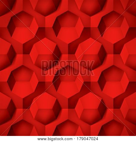 Volume realistic texture, octahedron, red 3d geometric pattern, design vector background