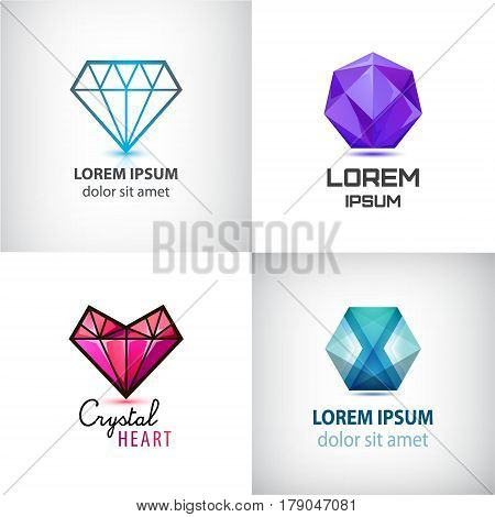 Vector set of jewelery logos, diamond illustration, crystal icons, faceted geometric logo