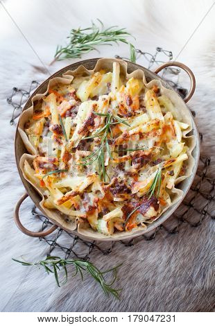 Casserole with reindeer meat and potatoes
