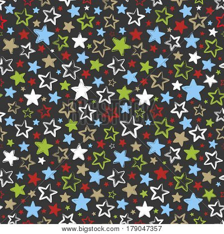 Seamless pattern with multicolored stars on dark background. Beautiful greeting background. Wrapping paper. Vector illustration