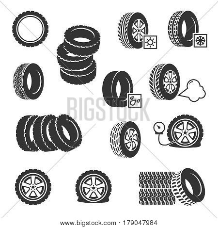 Tire shop, tyres change auto service vector icons set. Tire wheel and car service with change and pump tire illustration