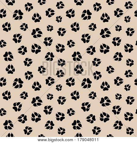 Vector seamless pattern with dirty dog or wolf paw footprints. Background with dog paw, illustration of pattern with animal paw print