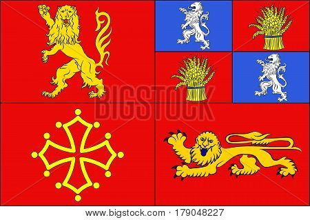 Flag of Tarn-et-Garonne is a department in the southwest of France. Vector illustration
