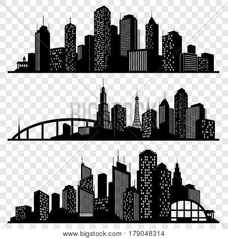 City building vector silhouettes, urban vector skylines set. Urban architecture silhouette, skyline cityscape architecture illustration