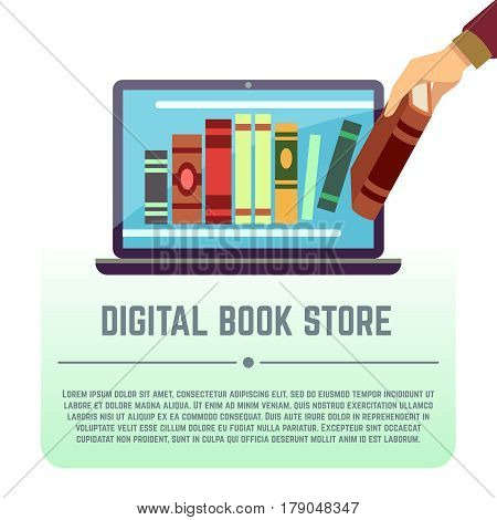 Electronic library, online documents, digital book store, books on computer screen vector education concept. Online library with book information, illustration of library with literature in laptop