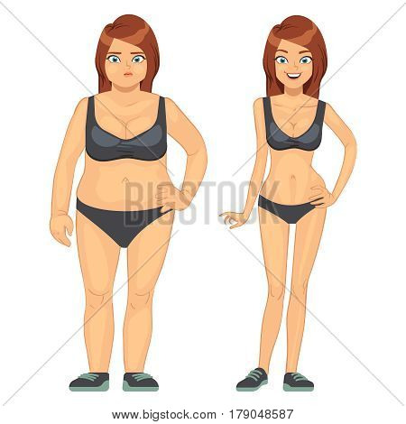 Unhappy fat and happy slim woman, before and after diet and weight loss vector illustration. Concept loss weight, healthy woman and overweight obesity woman