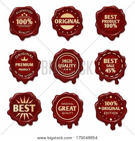 Old wax stamps with finest quality advertising text vector. Stamp wax premium, illustration of profitable red stamp