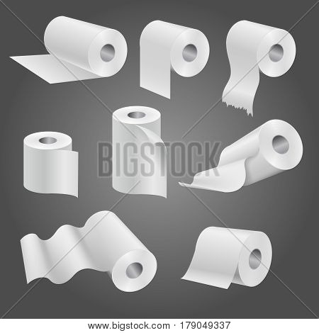 Toilet paper roll for bathroom and restroom, white soft kitchen towels vector set. Illustration of paper roll of set