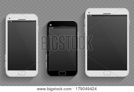 Touch screen mobile phones, smartphones in different size and tablet vector realistic templates. Set of smartphones, illustration of phone with touch screen