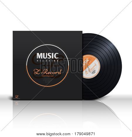 Retro stereo audio black vinyl disc and album paper sleeve cover vector mockup. Music analog vinyl plate in packaging box vector illustration