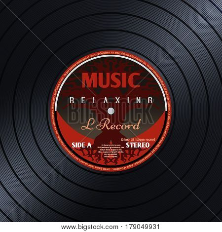 Retro vinyl record label music poster vector background. Vintage vinyl music, illustration of vinyl round plate close up