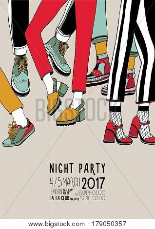 Night party hand drawn colorful poster with dancing legs, Dance, event, festival vector Illustration placard.
