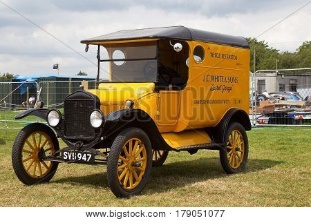 WESTERNHANGER, UK - JULY 21: A vintage WW1 era truck stands on static display for the public to view at the War & Peace Revival show on July 21, 2016 in Westernhanger
