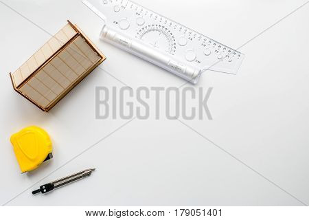 architect office with tools in profession concept on white desk background top view mock up