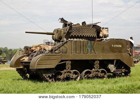 WESTERNHANGER, UK - JULY 20: A WW2 Lee tank stands in the Living History area for the public to view at the War & Peace Revival show on July 20, 2016 in Westernhanger