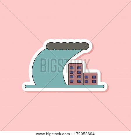 paper sticker on stylish background of tsunami