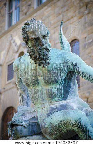 detail of a bronze by Giambologna 1560-1565 In the Neptune Fountain in Piazza della Signoria in Florence, Italy