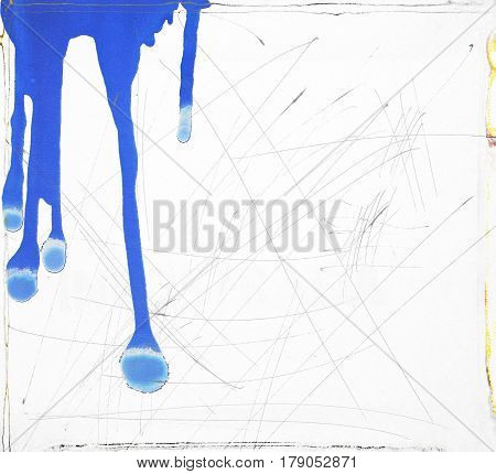 white scratched texture background with blue dripping.