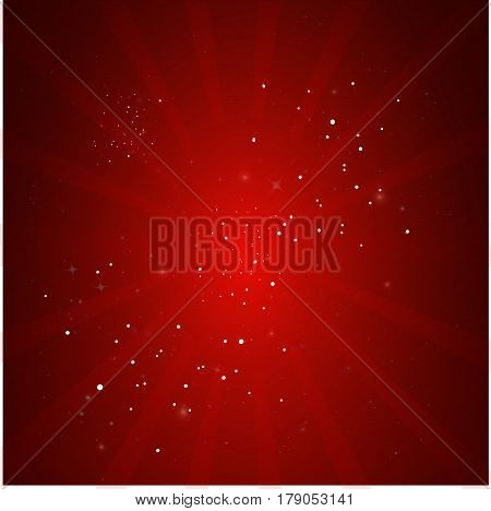 Christmas Red background with snowflakes.Abstract red background.Texture with shining stars and rays.