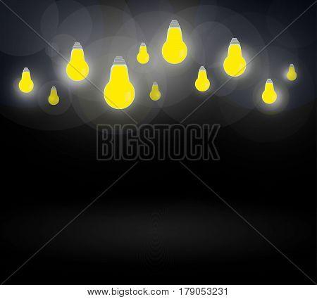 Light bulbs on dark blue background.Glowing light flashbulb design background.Vector illustration.