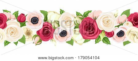 Vector horizontal seamless garland with red, pink and white roses, lisianthuses and anemone flowers and green leaves.