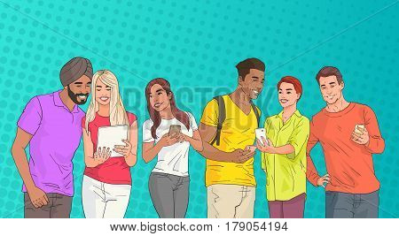 Mix Race People Group Using Cell Smart Phone Chatting Online Over Pop Art Colorful Retro Style Background Vector Illustration