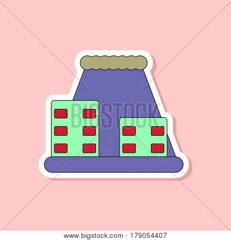 paper sticker on stylish background of tsunami city