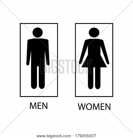 White silhouette men and women icon in white rectangle. Sign restroom women and men. Icon public toilette and bathroom for hygiene. Template for postersign. Flat vector image. Vector illustration