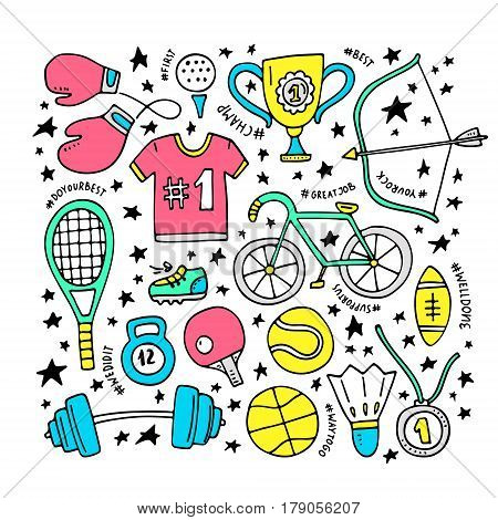 Sport and fitness design elements - set of clipart objects, including bycicle, basketball ball, tennis racquet. Vector handdrawn elements.